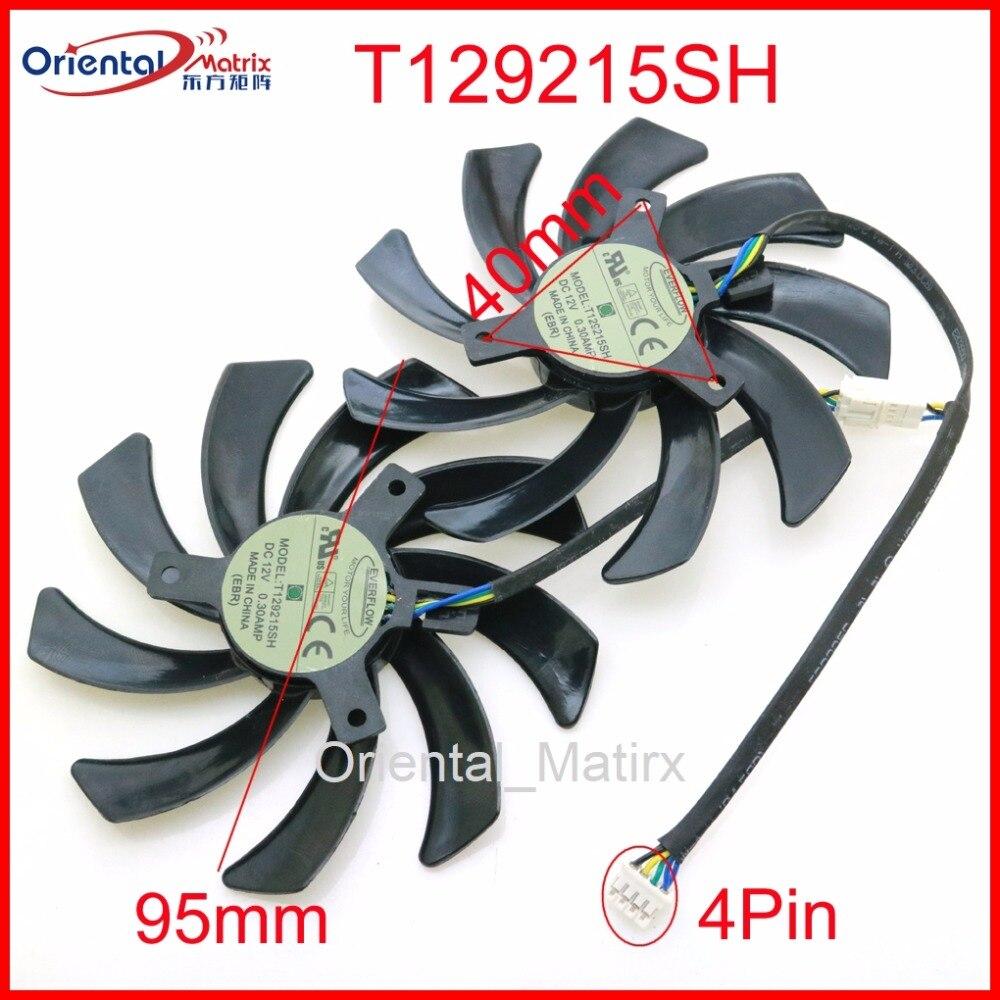Envío libre 2 unids/lote T129215SH DC12V 0.30A 95mm ventilador VGA para zafiro R9 380 390 4G D5 gráficos ventilador de refrigeración