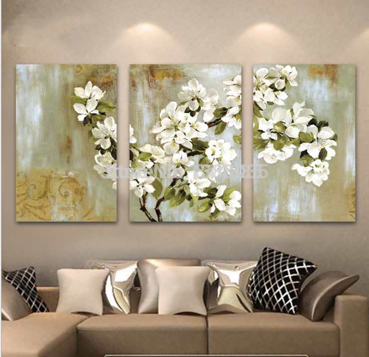Hand Painted Abstract White Floral Picture Wall Flower Oil Painting 3 Panel  Canvas Wall Art Modern Home Decoration Sets In Painting U0026 Calligraphy From  Home ...