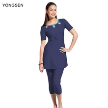 YONGSEN New Islamic Swimsuit Muslim Swimwear Hijab Female  Fiwmsuit for Women Bathing suit Plus Size Muslim Burkinis Beachwear