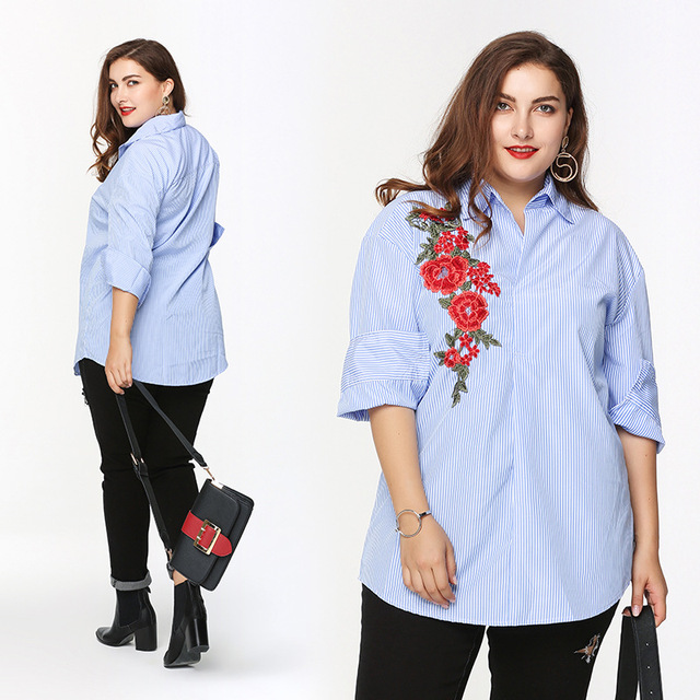 2017 Spring Large Yards Womens Embroidered Shirts Flowers Plus Big Size  Female Ladies Striped Long Sleeve