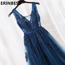 Vestido De Festa V Neck Cap Sleeve Vintage Lace Appliques Beaded Navy Blue Bridesmaid