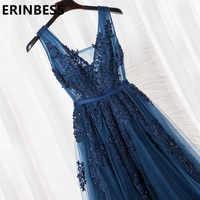 Vestido De fiesta con cuello en V y mangas casquillo, Apliques De encaje Vintage con cuentas azul marino, vestidos De dama De honor para mujer, vestidos De fiesta formales