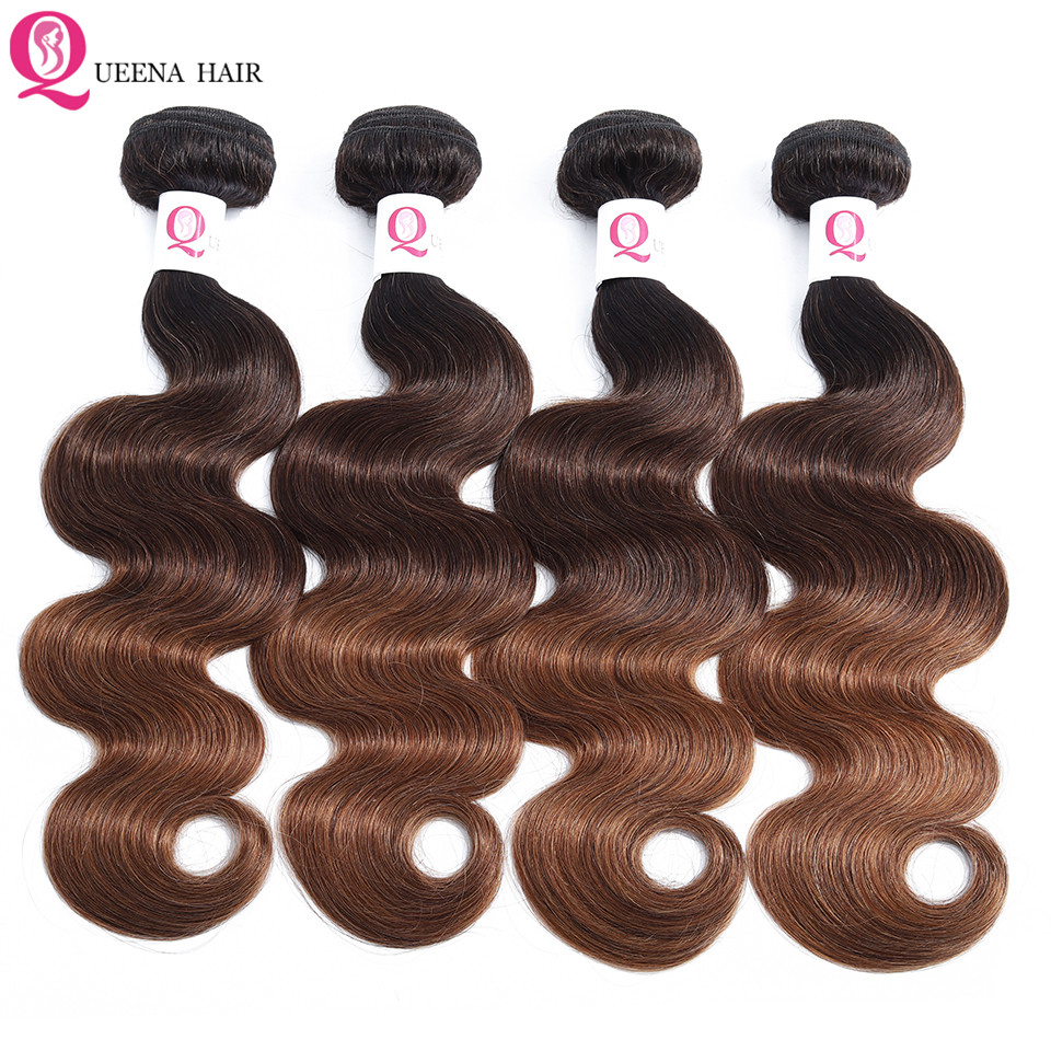 Brazilian Hair Wavy Weave Bundles Ombre Body Wave 3/4 Bundles Deals 1B/4/30 Colored Ombre Human Hair Bundles Remy Hair Extension