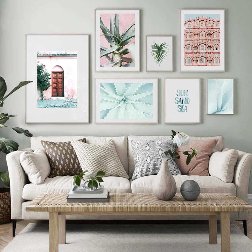 Decoration Pastel Pink Mint Cactus Wall Art On Canvas Painting Aloe Posters And Prints Door Modern Wall Pictures For Living Room