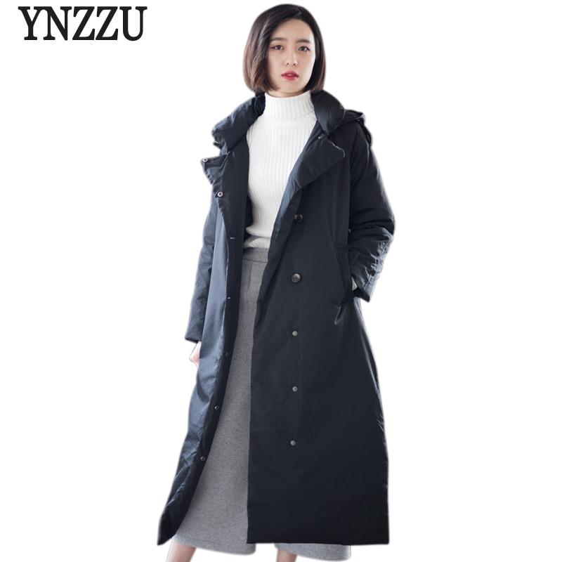 YNZZU Élégant 90% Blanc Duvet de Canard Manteau Vestes Femmes Vestes À Capuchon Femelle Vintage Long Hiver Chaud Outwears de Haute Qualité o588