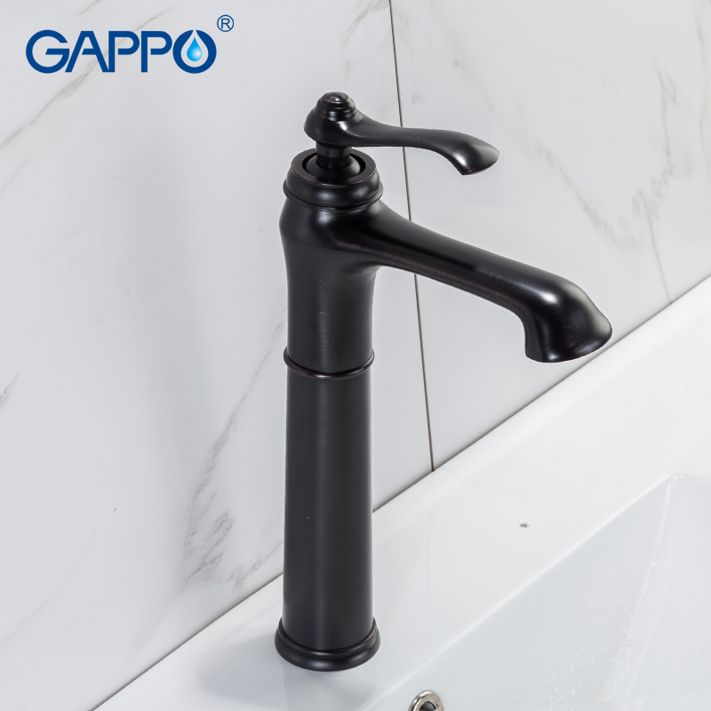 GAPPO Basin Faucets black tall waterfall basin sink faucet taps deck mounted bathroom faucet water taps