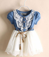 BNWT 2014 New Summer Girls Baby Lace Belt Tutu Dark Denim Dress Princess Kids FF