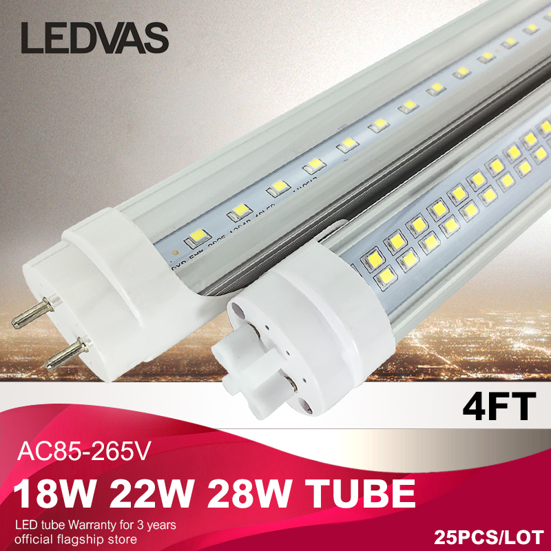 4Ft T8 led tube light lamp 18W 22W 28W 1200mm AC85 265V fluorscent led tube brightness