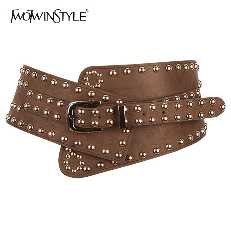 TWOTWINSTYLE Rivet Wide Belt For Women Irregular Belts Female 2019 Spring Fashion Harajuku Cummerbund