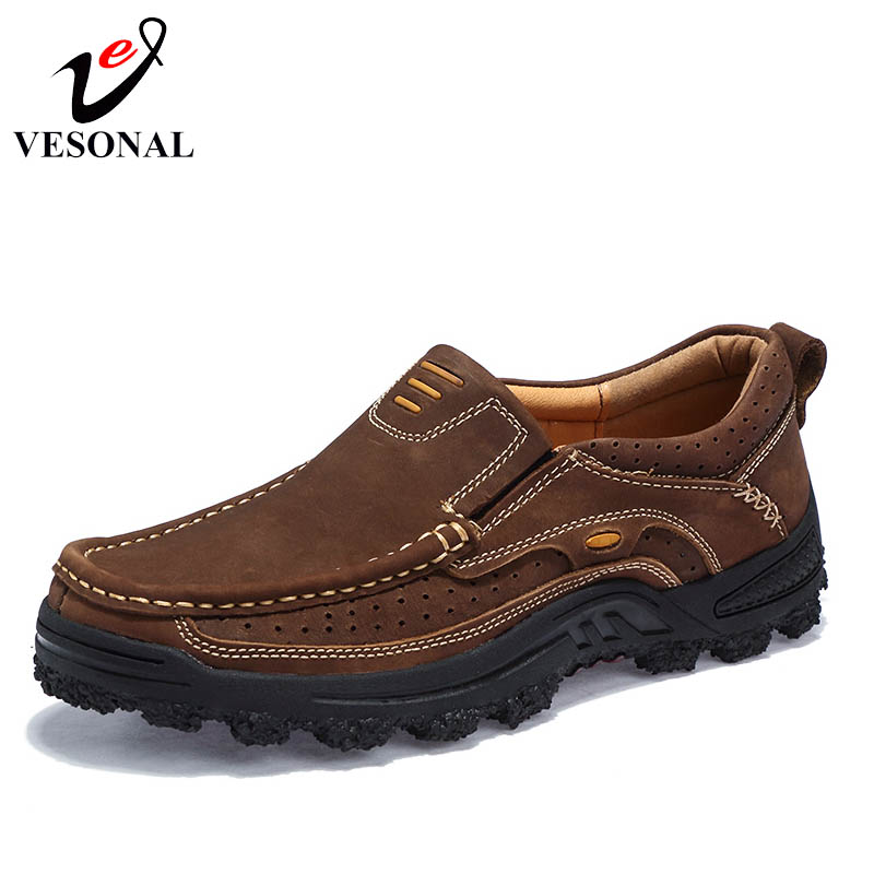 VESONAL Genuine Leather Casual Work Shoes For Men Oxfords Male Loafers Footwear Breathable Classic Patchwork Cargo