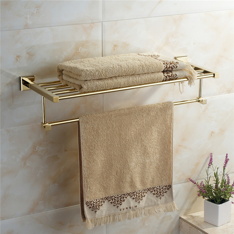 gold Bath Towel Rack Wall Mounted Bath Towel Holder Double Towel Rails holder-in Towel Racks from Home Improvement    1