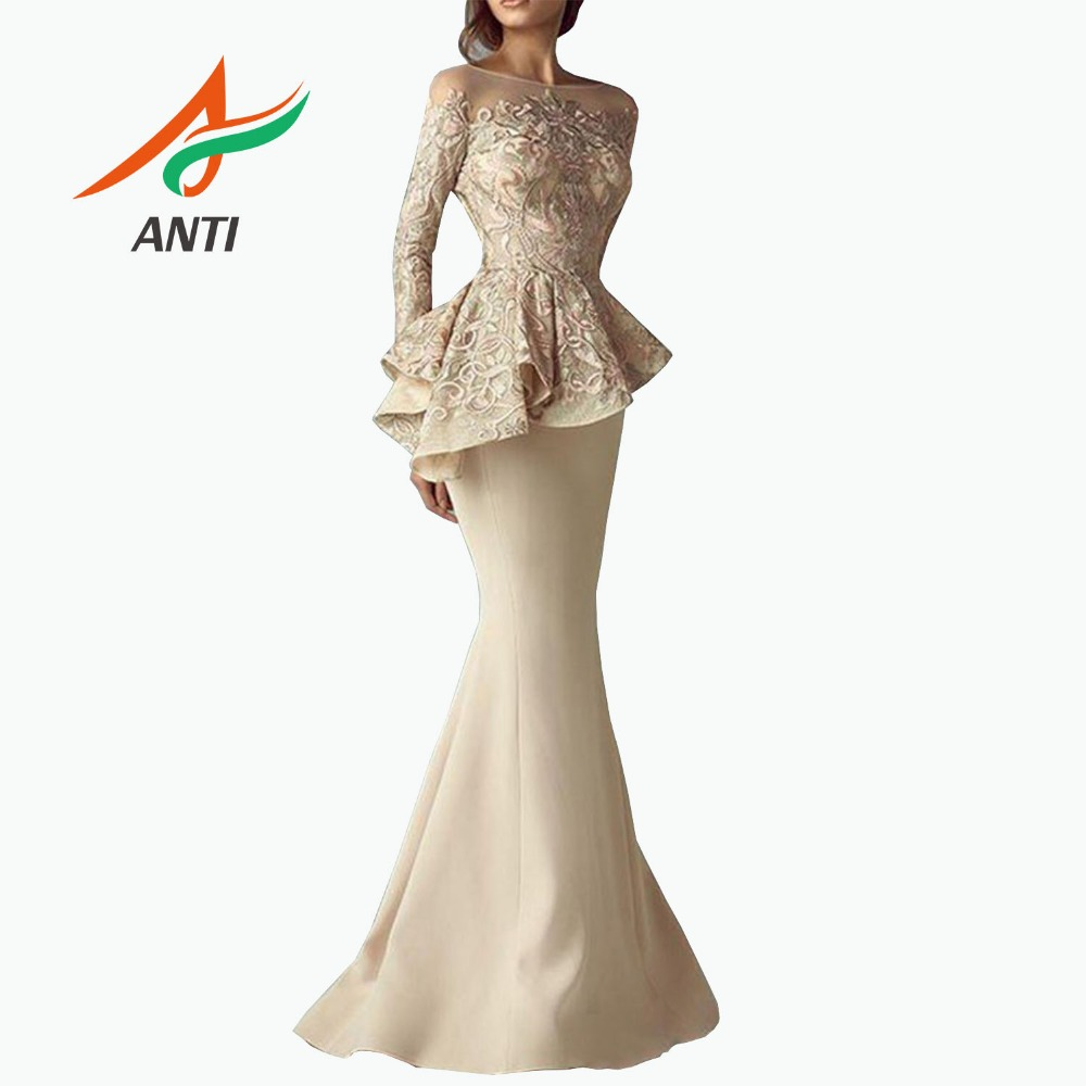 ANTI abendkleider Evening Gown Khaki Full Sleeves Mermaid Evening Dresses Peplum abiye Robe De Soiree Elegant Evening Dress Long