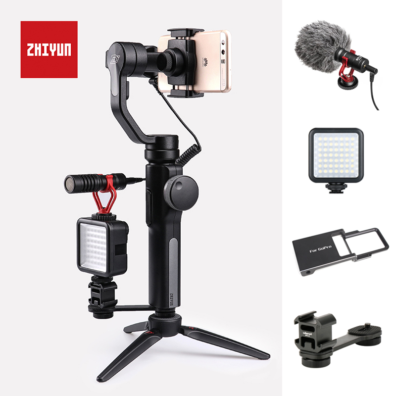 Zhiyun Smooth 4 3-Axis Handheld Gimbal Portable Stabilizer Camera Mount for Smartphone iPhone 8/7/6 Samsung S8/S9 Huawei P20 Mi zhiyun z1 smooth c multi function 3 axis handheld steady gimbal ptz camera mount stabilizer tripod holder for iphone smartphone