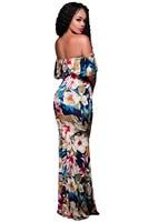 Strapless Maxi Dress Summer Floral Print Elastic Waist Bohemian Beach Dress Slash Neck Cotton Vintage Dress