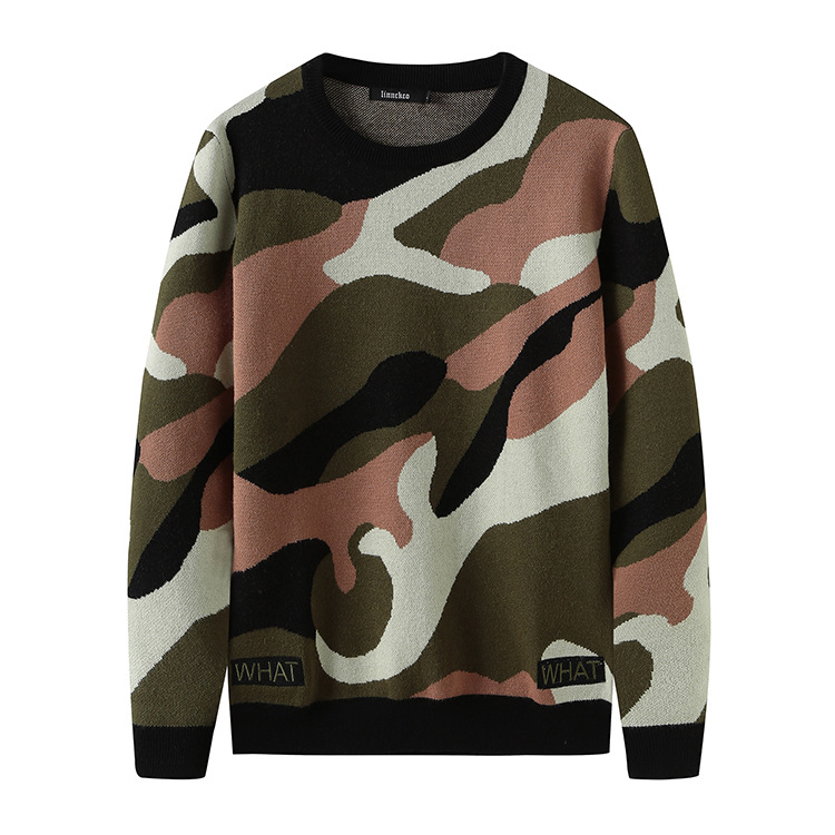 New 2020 Man Luxury gentleman Embroidered camouflage What Knit Casual Sweaters pullovers Asian Plug Size High quality Drake #H81 image