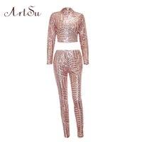 ArtSu Sexy Sequin Zipper Suit Women Solid Two Piece Set Crop Top Long Pants Women Sets