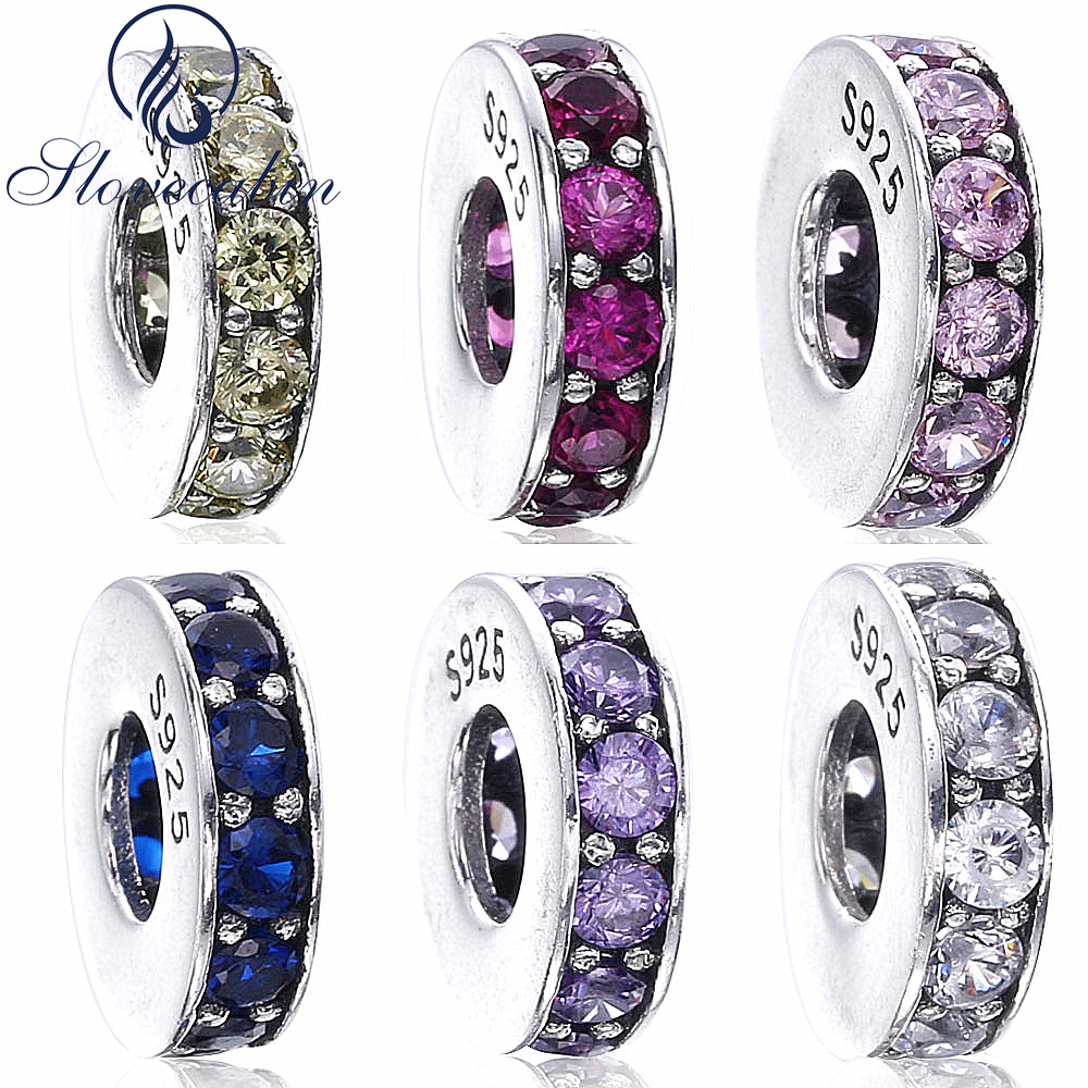 Slovecabin Original 925 Sterling Silver Eternity Spacer Beads For Jewelry Making Fit Pandora Bracelet Vintage Silver 925 Charms