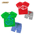 2016 Casual Boys Clothing Set Summer Boys Clothes Sets Striped Sports Suits T-Shirt+Pants Corsair Cartoon Roupas Infantis Menino
