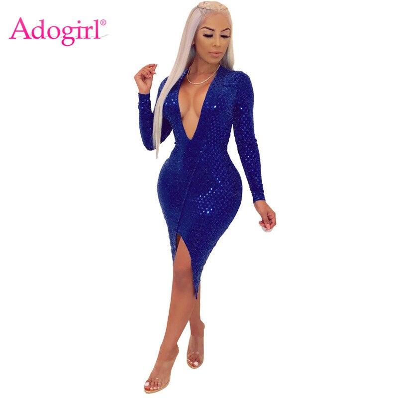 Adogirl блестки миди вечернее платье для женщин сексуальное Глубокий v-образный вырез с длинным рукавом с высоким разрезом в обтяжку для ночног...