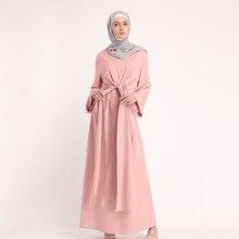 8ecdd6289 مسلم العباءة المرأة زائد حجم الأزياء والملابس المسلمات الإسلامي Soild اللون  وهمية اثنين من قطعة كم فستان طويل الكامل Z318