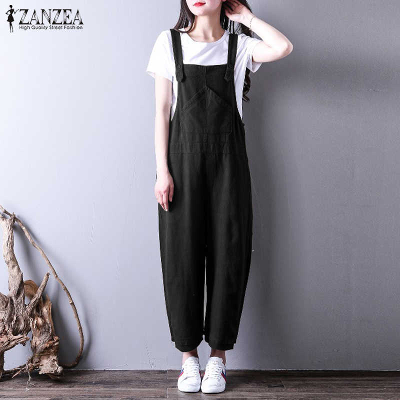 4ec763ae29 ... Oversized Women Jumpsuits 2018 ZANZEA Summer Linen Long Pants  Sleeveless Strap Overall Harem Pant Pantalon Rompers ...