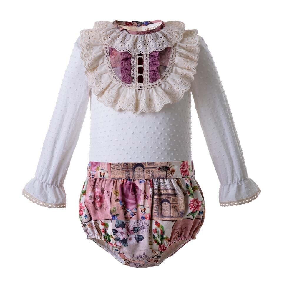 Pettigirl Vintage Style Baby Clothing Set Floral Printed