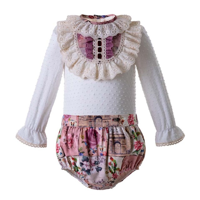 a0a955727ee4b Pettigirl Vintage Style Baby Clothing Set Floral Printed Lace Kid Clothing  Sets Boutique Children Outfits U-DMCS106-B326