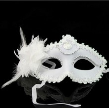 Pure Color Flower Princess Mask Women Girl Party Spree Cosplay Masquerade Dance Bar Carnival Cloth Lily Plastic Half Face