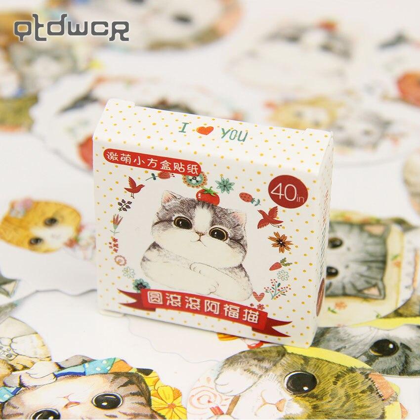 40PCS/Lot Cute Fat Cat Mini DIY Paper Sticker Set Decoration Diary Scrapbooking Seal Sticker School Supplies