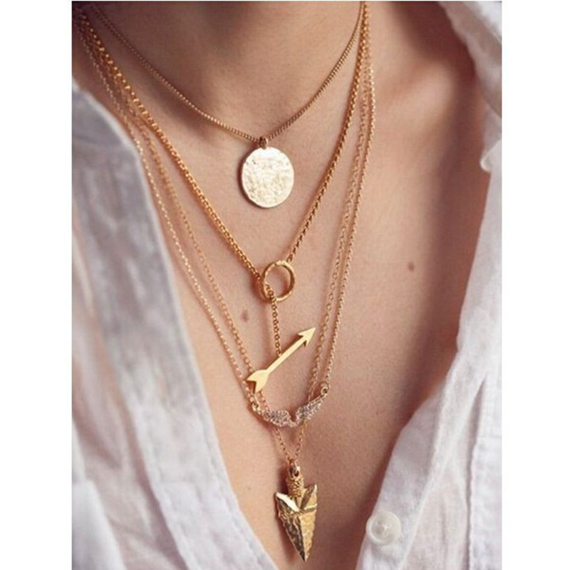 LIN STUDIO 6pcs Multilayer Necklace Crystal Rhinestone Angel Wings Archery Bow Pendant Gold Link Chain Necklace Jewelry
