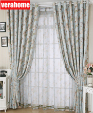 Blackout  pastoral floral curtains for living room bedroom blue curtain drapes windows treatment floral curtain for living room print voile for window bedroom linen curtain blackout drapes kitchen treatment pastoral x513 30