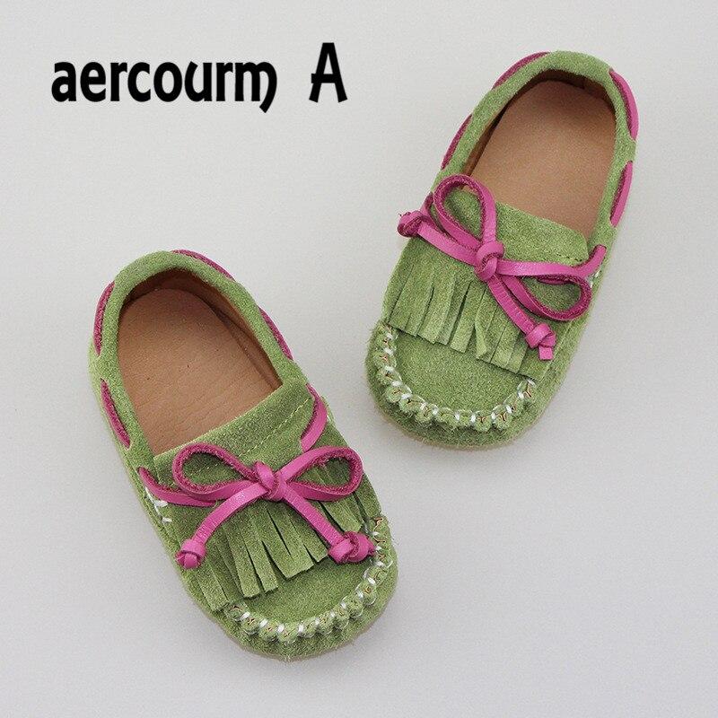 Aercourm a 2017 nowa wiosna boat shoes dzieci dziewczynek prawdziwej skóry kitki shoes mieszkania marki maluch bow trampki 21-28