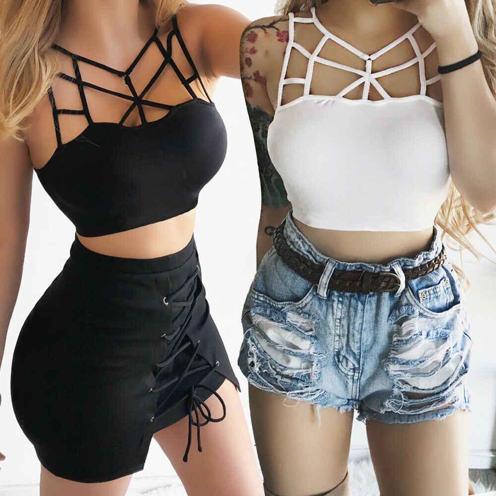 2019 nowy kobiet lato bez rękawów gorset Crop wierzchnia kamizelka na co dzień bandaż topy T-Shirt S-XXXL