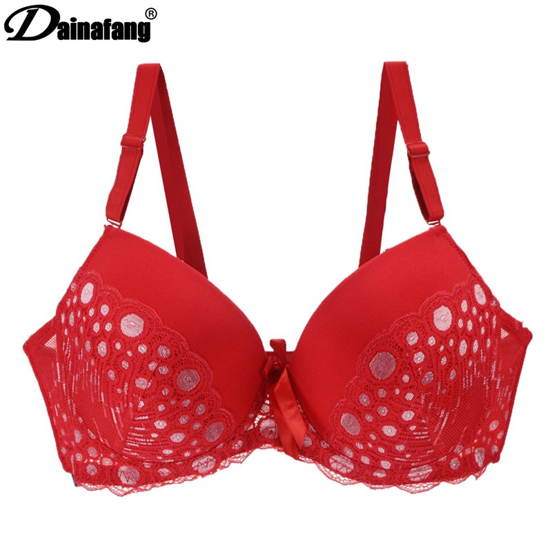 Young women large size bra women 39 s underwear lace bra red wave point gathered bra comfortable breathable double breasted in Bras from Underwear amp Sleepwears
