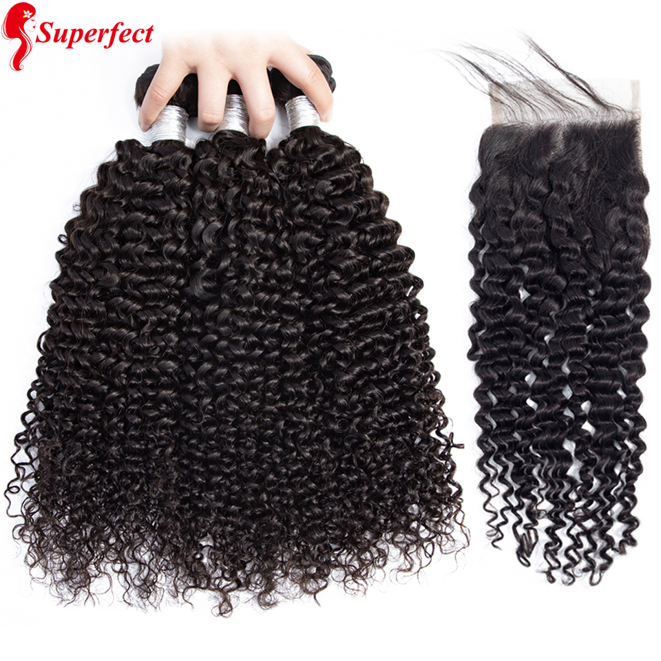 Superfect Curly Bundles With Closure Human Hair Bundles With Lace Closure Non Remy Brazillian Hair Weave