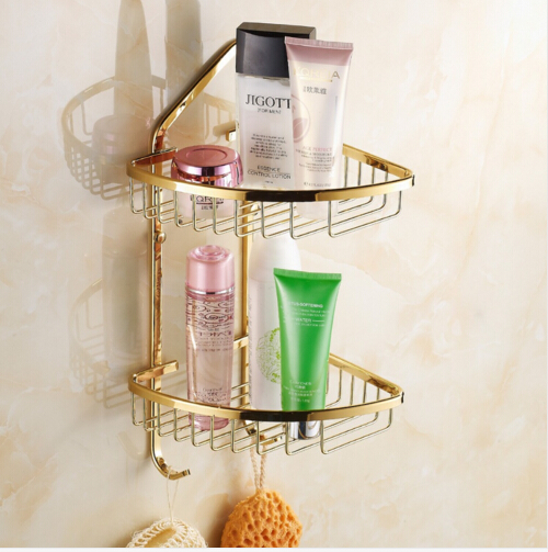 Wall Mounted Golden Polished Finish Bathroom Accessories  Double Layer Bathroom Shelves ,Corner Shelf