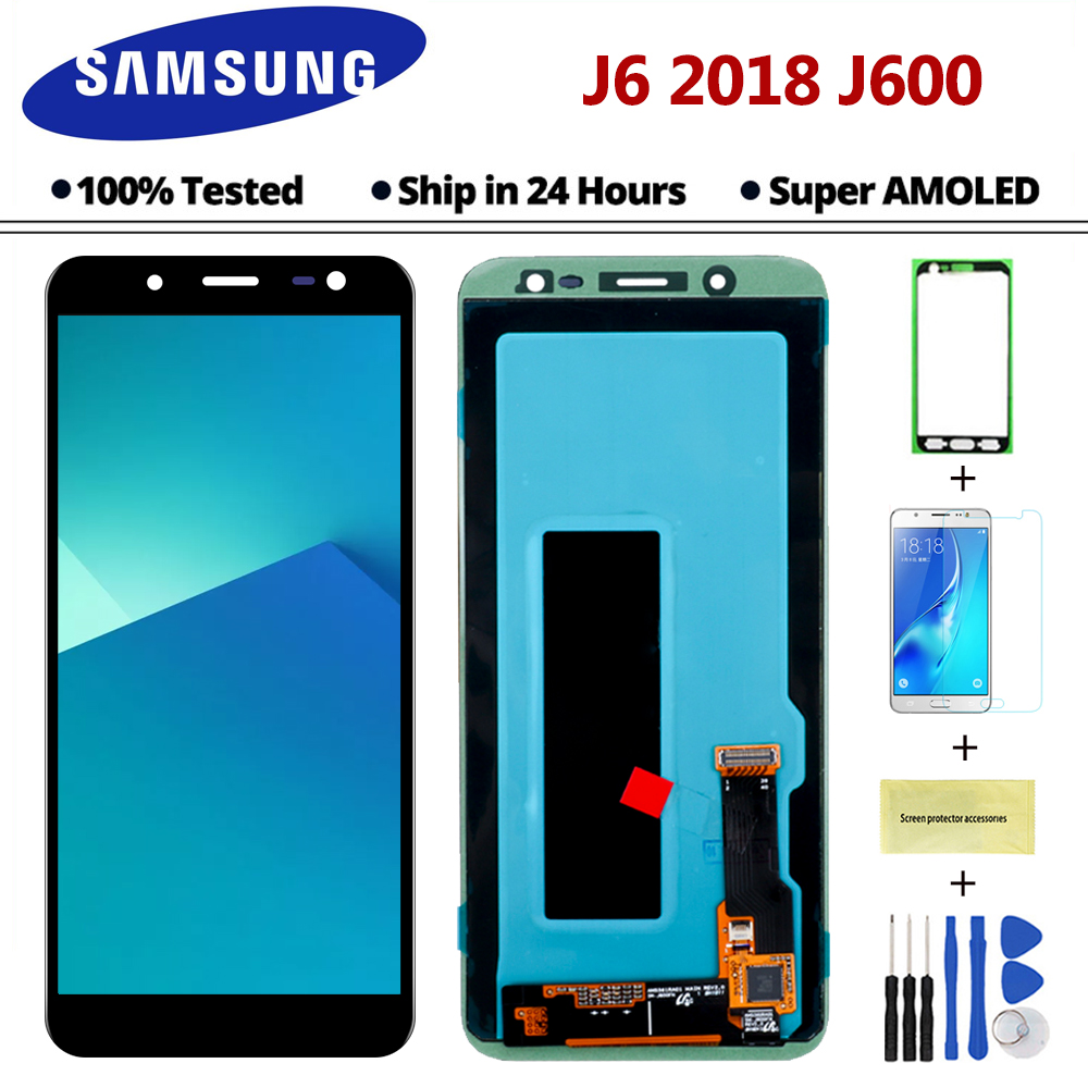 100 Original Super AMOLED LCD For Samsung Galaxy J6 2018 J600F J600f Display Touch Screen Assembly