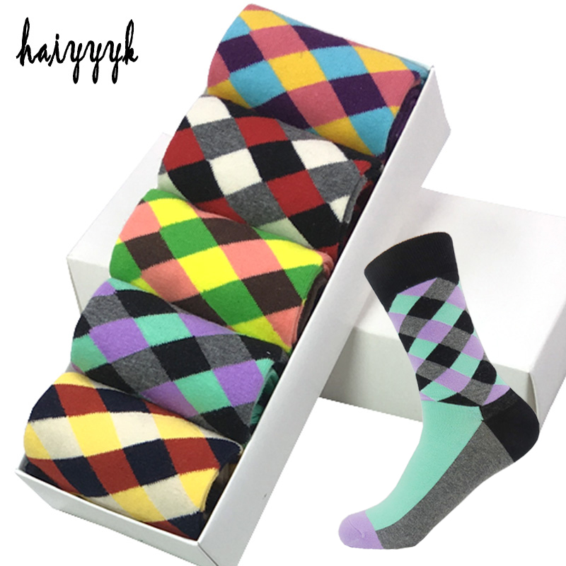 5 Pair/Lot Cotton Men Socks Business Compression Socks Novelty Funny Colorful Happy Dress Socks Men Size 39-45