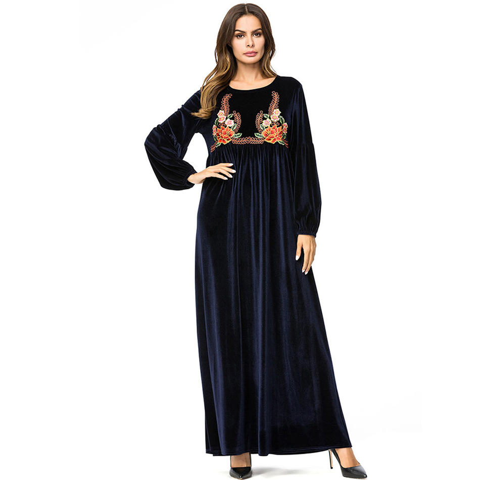 0be866fa8f3 О-образным вырезом бархатные теплые с длинным рукавом платья женщин зимние  рабочие платье Свободные повседневные платья плиссе Вечерние ж.