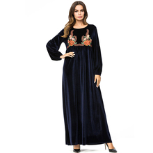 O-Neck Velvet Warm Long sleeve women dress winter Work solid loose casual dresses Pleated party clothing 7225