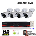 960H AHD DVR System 4PCS CMOS 720P 1MP Security CCTV Bullet AHD Cameras DVR Video IR-Cut System Kits 8CH p2p Built in 1TB HDD