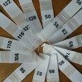 Этикетка для детской одежды, 50 шт., белая полиэфирная ткань с номером, бирки 50 56 62 68 74 80 86 92 98 104 110 116 122 128