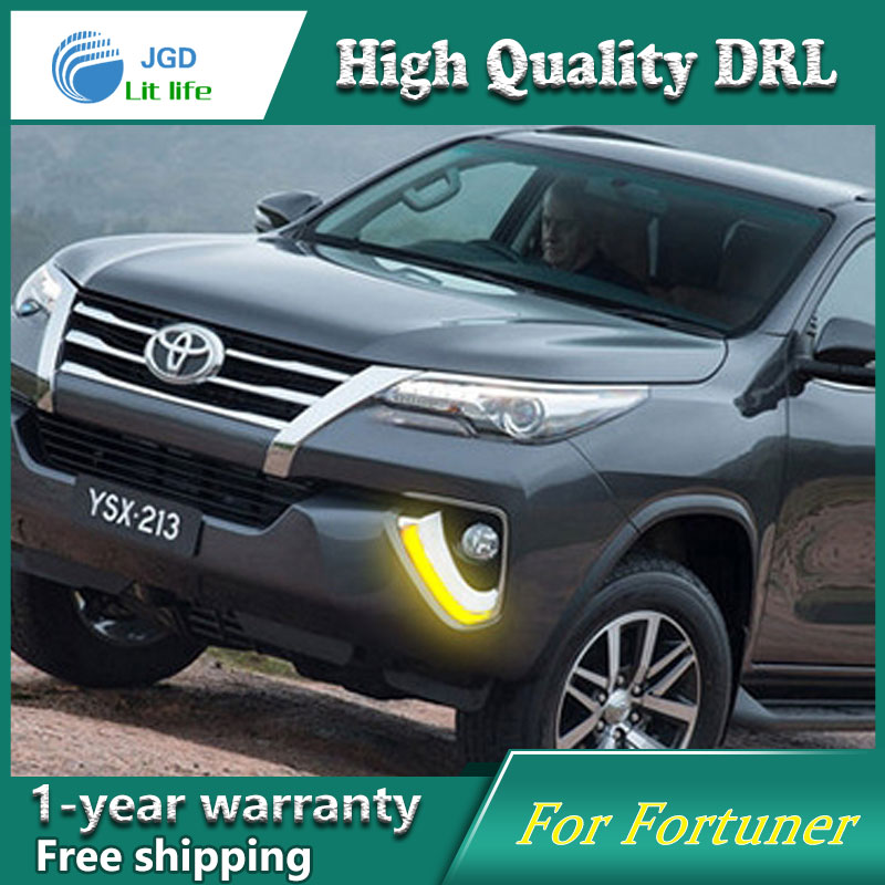 Car Styling LED Daytime Running Light for Toyota Fortuner DRL 2016 Elantra LED DRL Fog Light Cover Front Lamp Auto Parts yatour car adapter aux mp3 sd usb music cd changer 6 6pin connector for toyota corolla fj crusier fortuner hiace radios