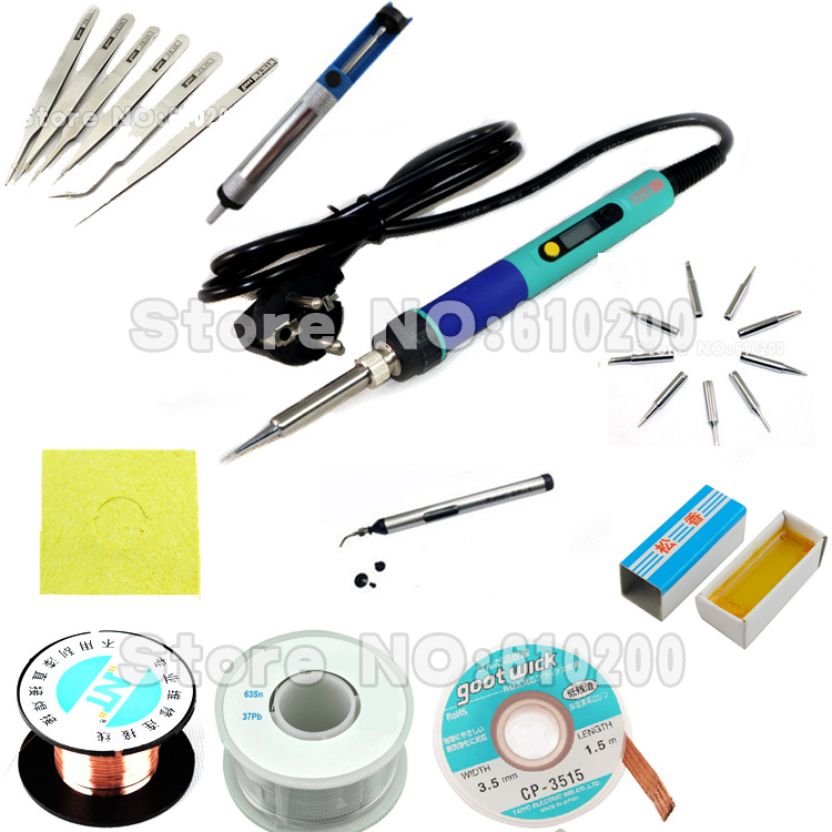 ФОТО EU Digital LCD Adjustable Electric soldering iron or 936 Soldering station kit set Welding repair kit SET Tweezers/Solder tip/