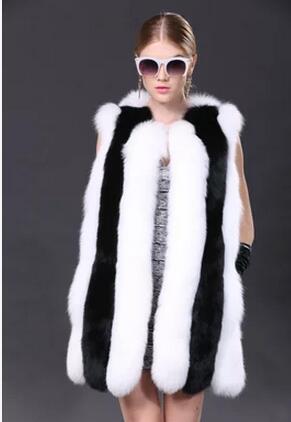 Et Mode 100 Américain Femmes Milan Blanc 100 Européen Rayé Gilets Vogue Renard Noir D'hiver Fourrure De Naturel Gilets HdFx8nq8