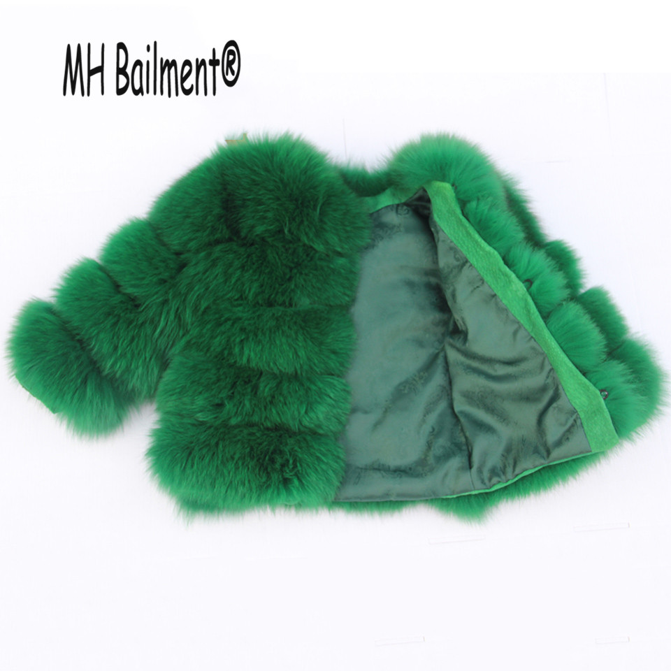 Girls Real Fox Fur Coat 2017 Winter Children Natural Fur Coat Clothing Warm Kids Thicken Outerwear coat Emerald Fur Jacket C#27 2017 children wool fur coat winter warm natural 100% wool long stlye solid suit collar clothing for boys girls full jacket t021