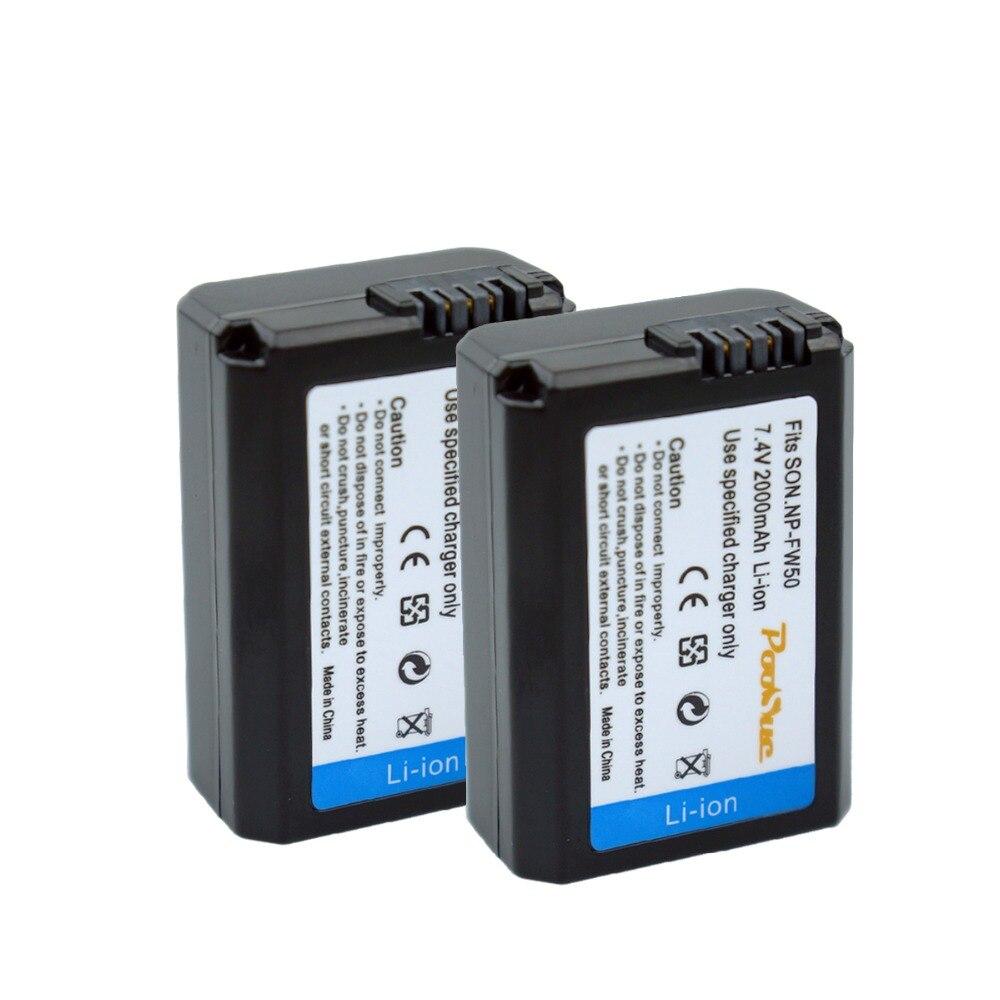 2 stücke NP-FW50 Kamera Batterie NPFW50 NP FW50 für SONY A5000 A5100 A7R NEX5 5R 5N A6000 A7 NEX6 NEX7 NEX5R NEX5N