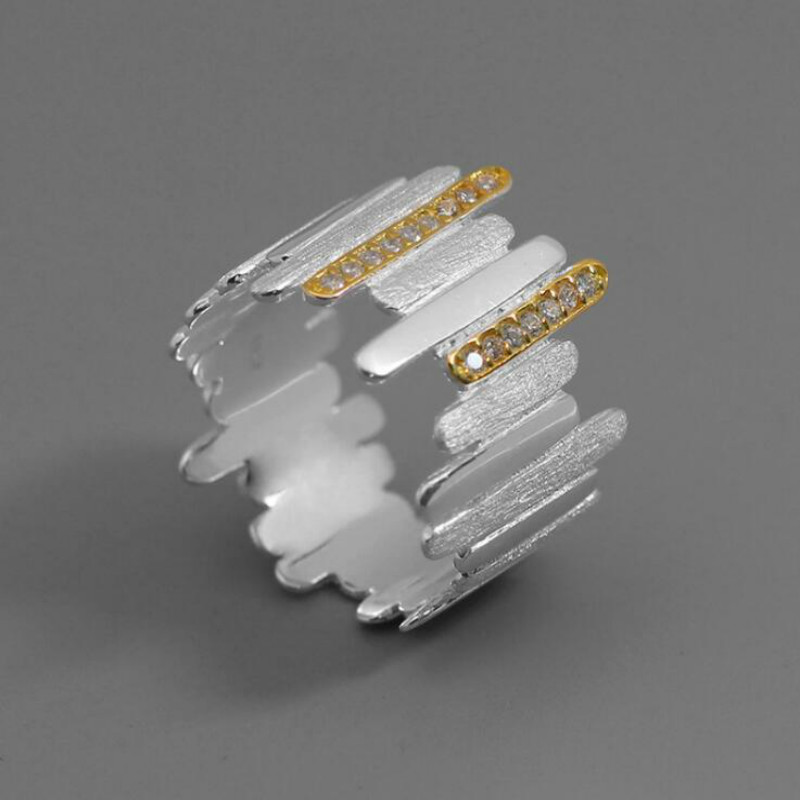JINSE Real 925 argent Sterling fait à la main Zircon naturel bijoux fins créatif Style minimaliste lignes parallèles anneaux pour les femmes