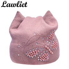 Women Winter Hats Female Beanies Hat Diamond Pearl Butterfly knitted Hats for Women with Meow Ear Women beanies Cap Ladies Hats