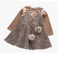 Moda Brytyjski Styl Dziewczyny Ubrania Khaki Sukienka Długie rękawy Top + Mały Włos Piłka Kraty 2 Sztuk Garnitur Dziewczyny zestawy Dla Dzieci Ubrania